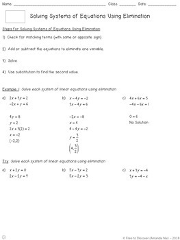 Systems of Equations (Elimination) Notes and Practice (Differentiated)