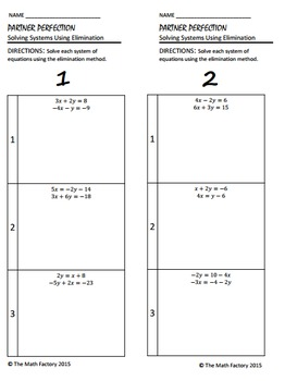 Systems of Equations Elimination Differentiated Partner Worksheet