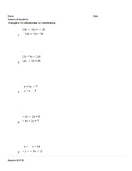 Systems of Equations (Elimination/ Substititution)