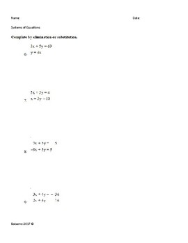 Systems of Equations (Elimination/ Substitution)