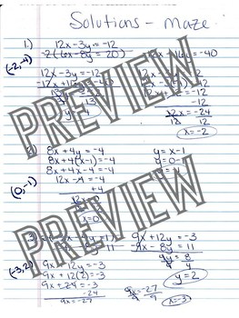 Systems of Equations Elimination Substitution Maze Worksheet Activity Algebra
