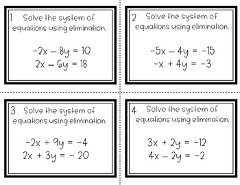 Systems of Equations - Elimination (+/-) Task Cards