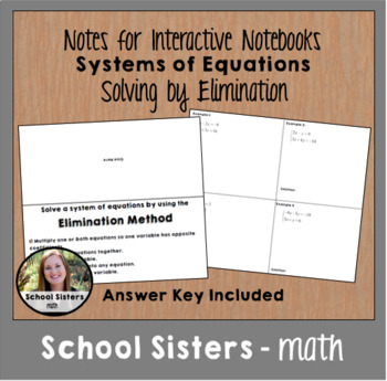 Systems of Equations - Elimination - for Interactive Notebooks