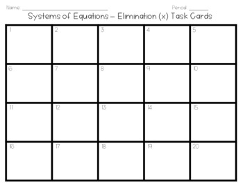Systems of Equations - Elimination (x) Task Cards