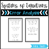 Systems of Equations Error Analysis Task Cards