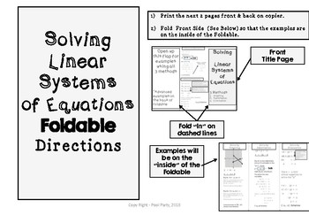 Systems of Equations FREE Foldable