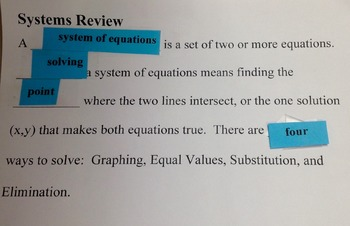 Systems of Equations Fill in the Blank Review (Notes)