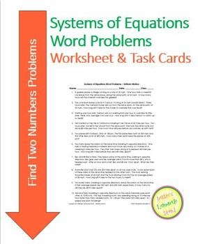 Systems of Equations - Find Two Numbers - Worksheet, Assessment, Task Cards