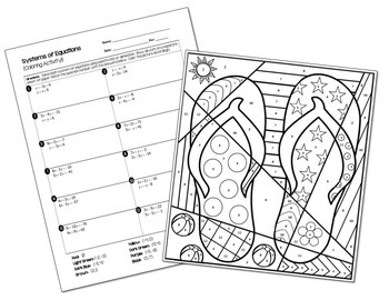 cacl2 solution coloring pages | Systems of Equations Coloring Activity by All Things ...