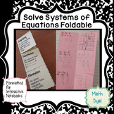 Systems of Equations Foldable