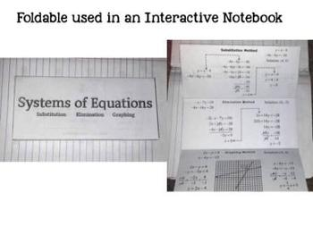 Systems of Equations Foldable Interactive Notebook Graphic