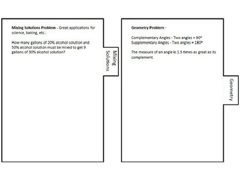 Systems of Equations Foldable with Applications Word Problems