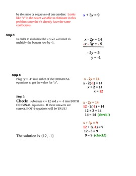 Systems of Equations Grade 8 Common Core