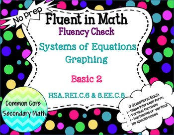 Systems of Equations Graphing Basic Level 2 : No Prep Flue
