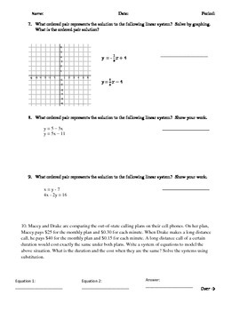 Systems of Equations Graphing and Substitution Quiz