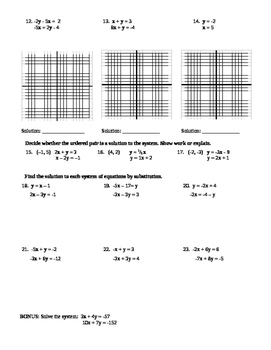 Systems of Equations Graphing and Substitution Quiz (2 versions)