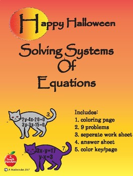 Systems Of Equations Halloween Coloring Sheet By A Math Mindset Tpt