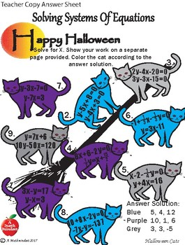 Systems of Equations Halloween Coloring Sheet
