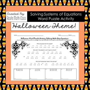 Systems of Equations Halloween Word Puzzle Activity