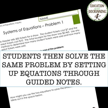 Systems of Equations Inquiry Activity (great for centers)