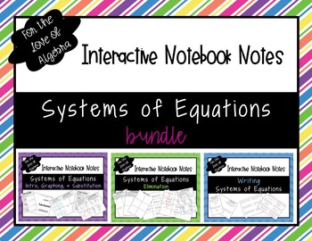 Systems of Equations Interactive Notebook NOTES BUNDLE!!