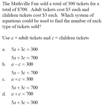 Systems of Equations Introduction Assessment Quiz 8.EE.C.8 Go Math