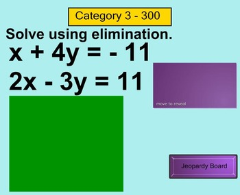Systems of Equations Jeopardy