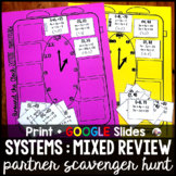 Systems of Equations MIXED REVIEW Partner Scavenger Hunt -