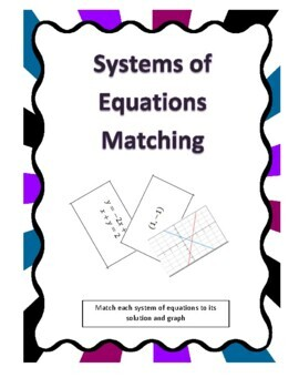 Systems of Equations Matching