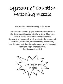 Systems of Equations Matching Game