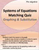 Systems of Equations Matching Quiz (Graphing and Substitution)