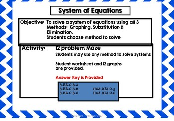 Systems of Equations Maze