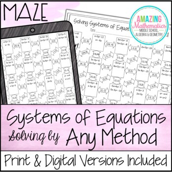 Systems of Equations Maze - All Methods