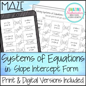 Systems of Equations Maze ~ Slope Intercept Form ~ Solve by Graphing