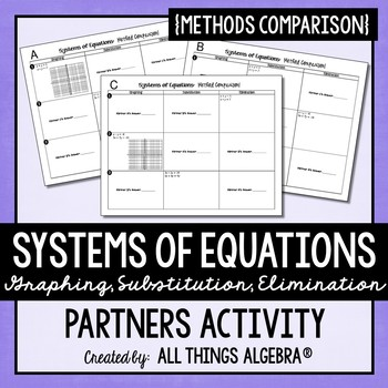 Systems of Equations (All Methods) Partners Activity