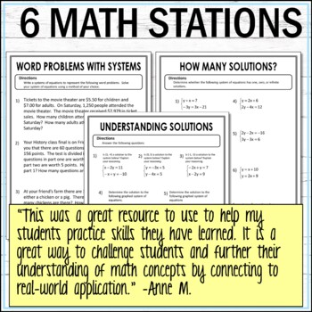 Systems of Equations Math Stations  :  Middle School Math Stations