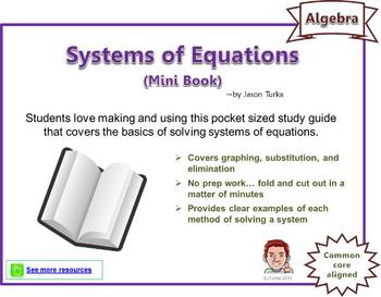 Systems of Equations - Mini Books