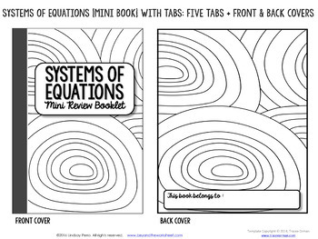 Systems of Equations Mini Tabbed Flip Book for 8th Grade Math