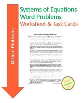 Systems of Equations - Mixture Problems - Worksheet Assess Task Cards