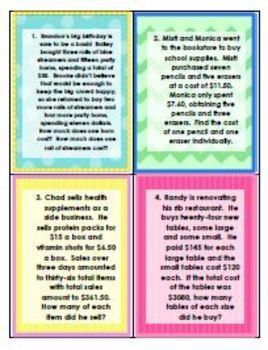 Systems of Equations - Money Money Money! - Assessment Worksheet Task Crds