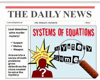 Systems of Equations Mystery Power Point Game