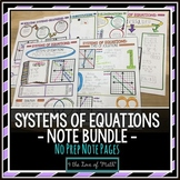 Systems of Equations No Prep Note Bundle