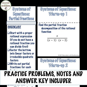 Systems of Equations Partial Fractions for PreCalculus UPDATED | TpT