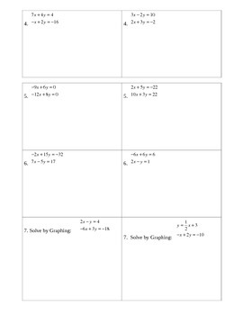 Systems of Equations Partner Activity