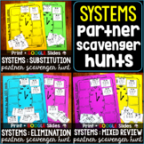 Systems of Equations Partner Scavenger Hunt Activities Bundle