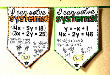 Systems of Equations Pennant {elimination and substitution}