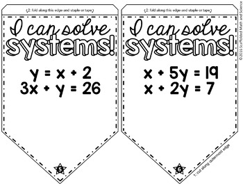 Systems of Equations by Elimination and Substitution Math Pennant Activity