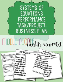 Systems of Equations Performance Task/Project: Create a Business Plan