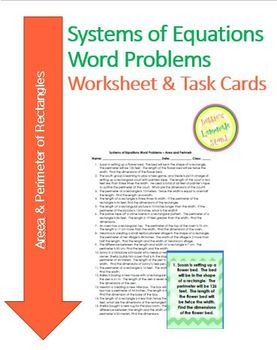 Systems of Equations - Perimeter of Rectangle-Worksheet Assess Task Cards