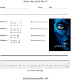 Systems of Equations Project: Avatar: Rise of the Ma'Wi